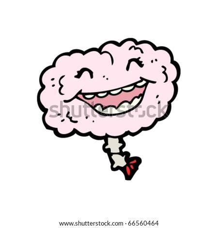 laughing happy brain cartoon - stock vector