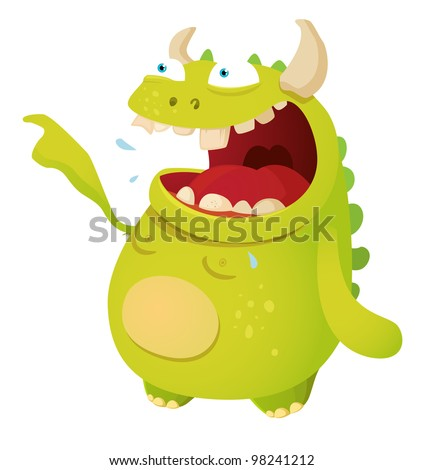 Laughing Monster - stock vector