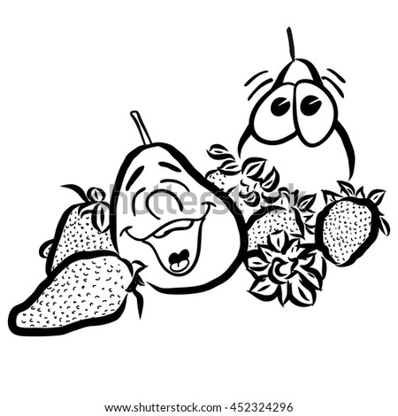 Laughing Pears and Strawberry Fruits, hand drawn Vector Outline Sketches. Useful for any kind of advertising in web and print. - stock vector