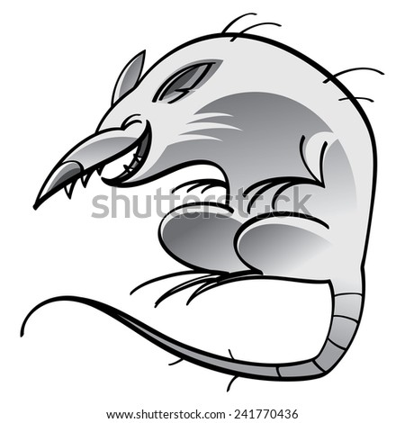Laughing rat isolated on the white background - stock vector