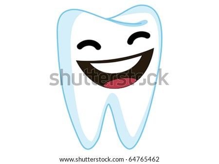 Laughing Tooth Cartoon Character Illustration in Vector - stock vector