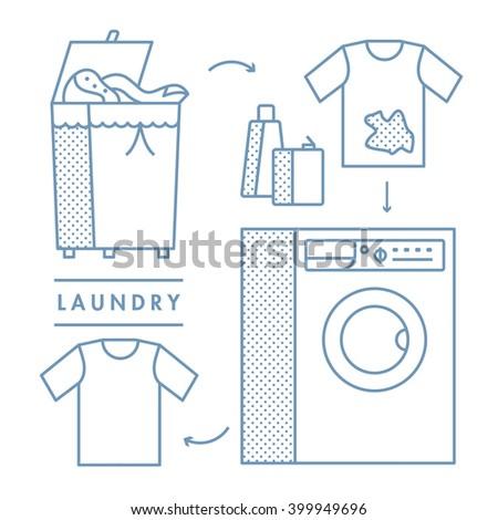 laundry - stock vector