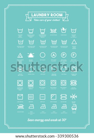 Laundry and clothing care symbols set - stock vector