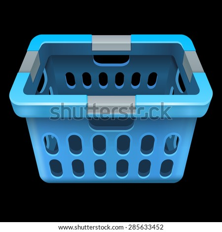 Laundry basket.  Isolated on black 10 eps - stock vector