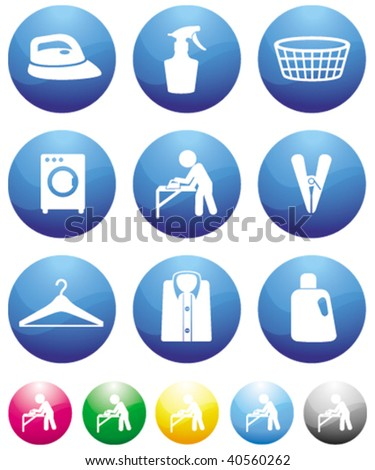 laundry blue button icons - stock vector