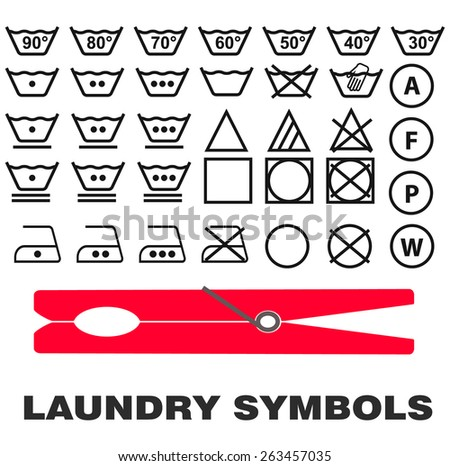 Laundry Care Symbols Icons Black On Stock Vector 263457035