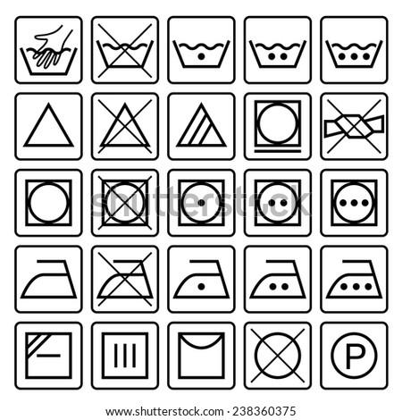 Laundry Care Symbols Set Textile Care Stock Vector 2018 238360375