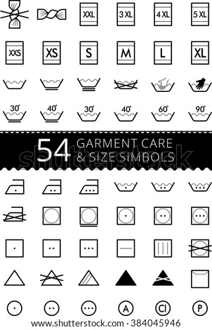 Laundry care symbols. Set of textile care icons. Wash and care signs of textile garment. Clothes sizes - size L, size M, size S, size XS, size XL - stock vector