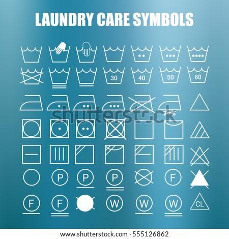 Laundry Care Symbols Set Wash Bleach Stock Vector 2018 555126862