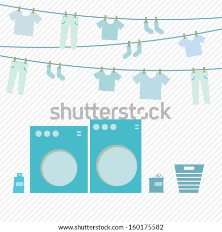 Laundry day, washing machine and cloth on hanger, vector illustration - stock vector