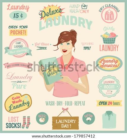 Laundry Design Set. - stock vector