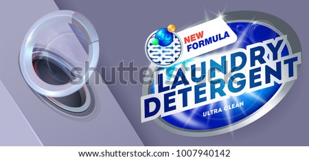 Laundry detergent for ultra clean washing.Template for laundry detergent. Package design for Washing Powder & Liquid Detergents. Vector illustration