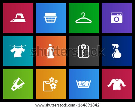 Laundry icons in Metro style - stock vector