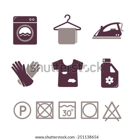 Laundry icons set - stock vector