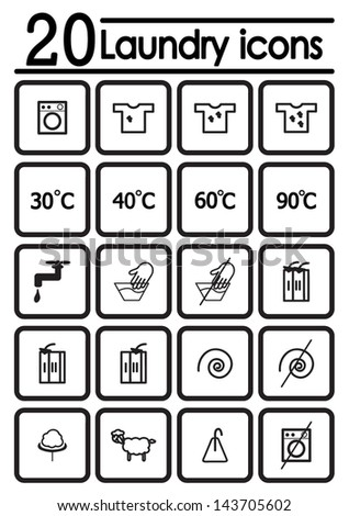 Laundry icons. Vector illustration. - stock vector
