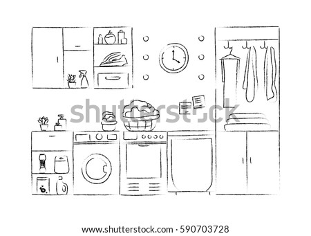 Stock Vector Laundry Interior Sketches Hand Drawing Front View Contour Vector Illustration Furniture And on 2000 Infiniti Qx4 Fuse Panel
