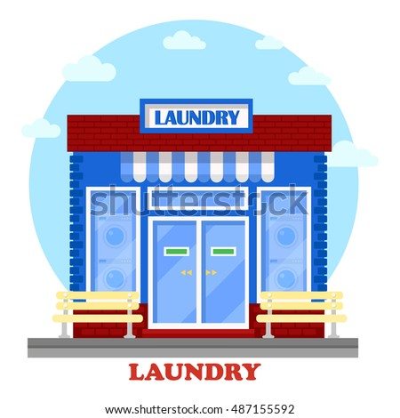Laundry or washhouse building with wash machines on showcase. Facade of structure for self-service cleaning clothing with laundromat. Can be used for hygiene and architecture theme