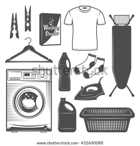 Laundry Room Or Service Set Of Vector Icons Silhouettes Design Elements In Black