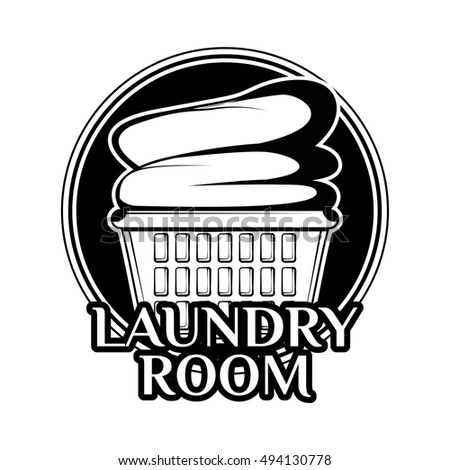 Laundry Room Vintage Logo Label Badge With Clean Clothes In Basket
