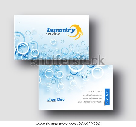 Laundry Service Business Card Vector Template. - stock vector