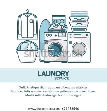 Big wash laundry objects vector sketch stock vector for Ironing service flyer template