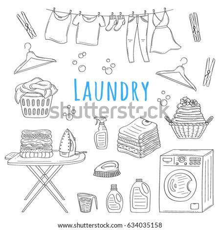 Laundry Service Hand Drawn Doodle Icons Set Vector Illustration Washing Drying And Ironing