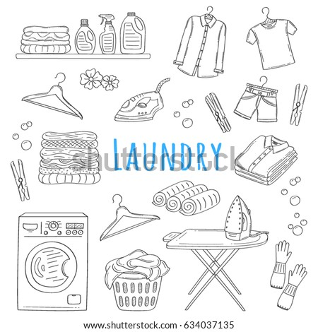 Laundry Service Hand Drawn Doodle Icons Stock Vector Hd Royalty