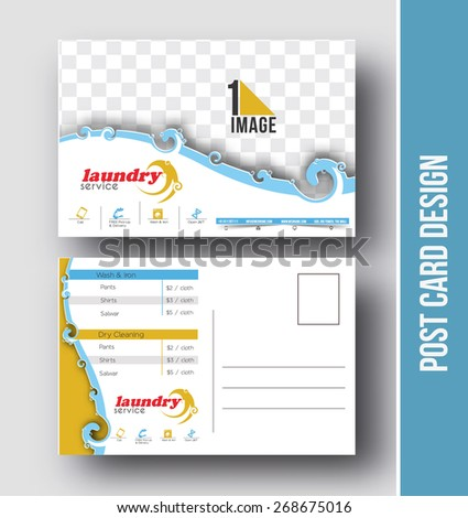 Laundry service flyer poster template stock vector 446687377 laundry service postcard design vector template for opening invitation pronofoot35fo Image collections