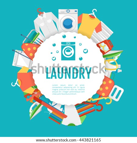 Laundry service poster design laundry icons stock vector for Ironing service flyer template