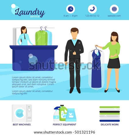 Laundry services flyer stock images royalty free images laundry service with dry cleaning and washing symbols flat vector illustration pronofoot35fo Image collections