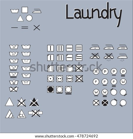 Laundry Symbols Line Design Washing Ironing Stock Vector 478724692