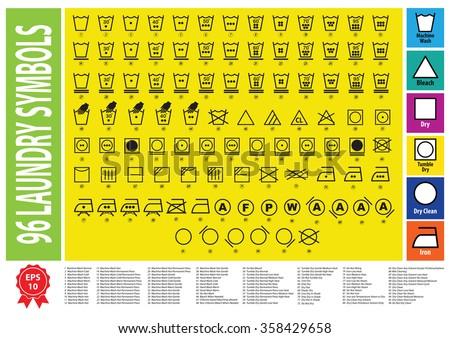Laundry Symbols Washing Symbols Easy Modify Stock Vector 358429658