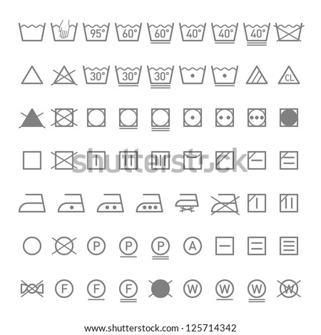 Laundry symbols. Vector. - stock vector