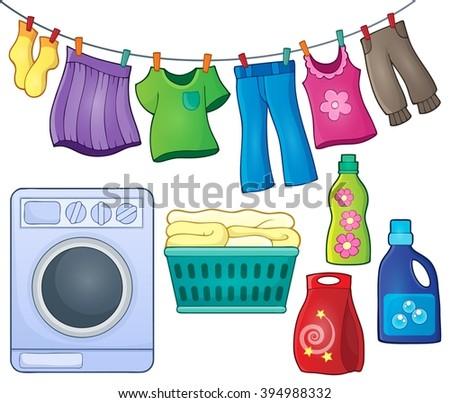 Laundry theme image 3 - eps10 vector illustration. - stock vector