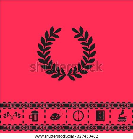 Laurel victory wreath. Black flat vector icon and bonus symbol - Racing flag, Beer mug, Ufo fly, Sniper sight, Safe, Train on pink background - stock vector