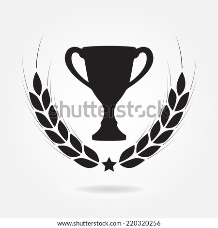 Laurel wreath and trophy cup. Award icon or sign. Black symbol on white background. Vector illustration.  - stock vector