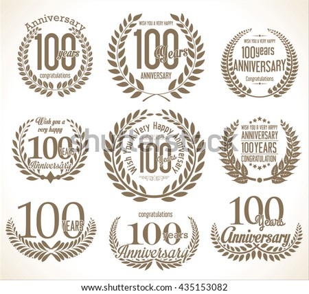 Laurel wreath retro vintage anniversary collection 100 years