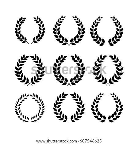 laurel leaf crown template - laurel wreath reward set modern symbol stock vector