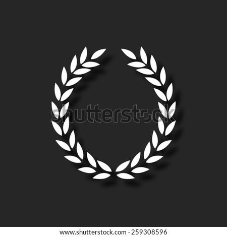 Laurel Wreath  - vector icon with shadow - stock vector