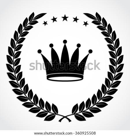 laurel leaf crown template - laurel wreath crown silhouette vector illustration stock