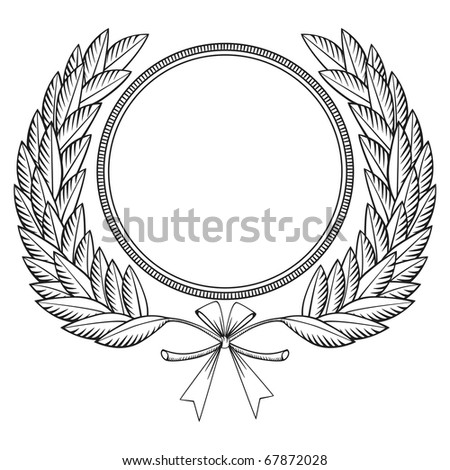 Laurel wreath with medal and bow - woodcut style
