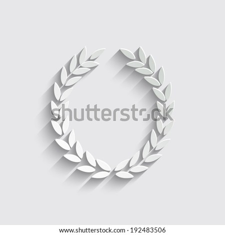 Laurel Wreath with shadow on a grey background - stock vector