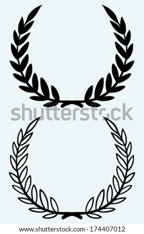 Laurel wreaths isolated on blue background - stock vector