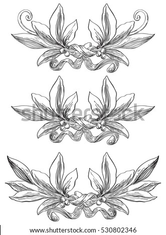 Laurel wreaths. Vector set of elements with laurel leaves at engraving style.