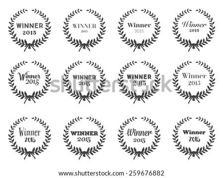 Laurel Wreaths Vector Set of Typographic Design for your wins - stock vector