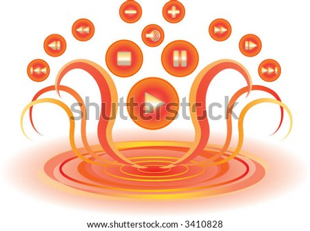 lava media buttons - stock vector