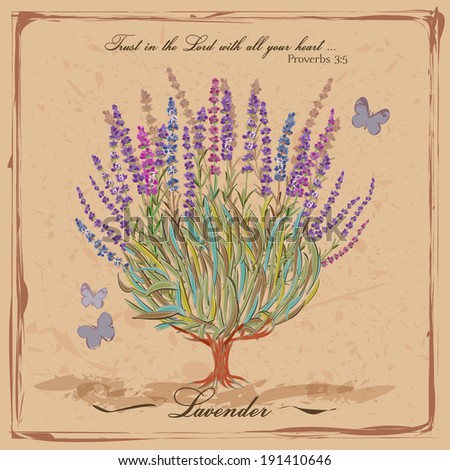 Lavender. Flowering shrub. Provence. French retro style. Vintage card in rustic style for interior decoration. - stock vector