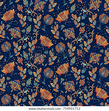 Lavish colorful seamless vector floral pattern on dark background