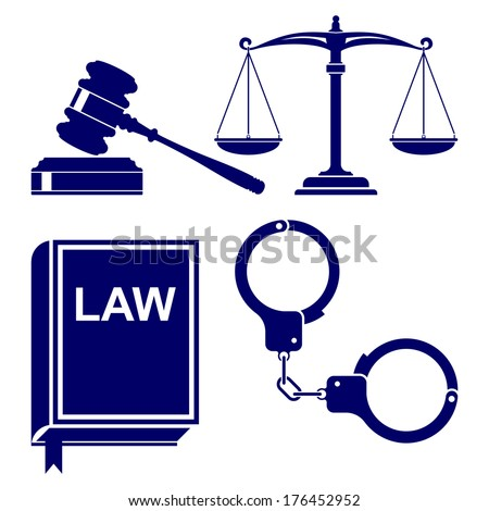 law abstract icon set vector  illustration  - stock vector