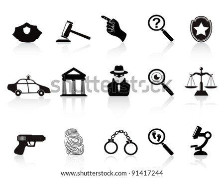 law and crime icons set - stock vector